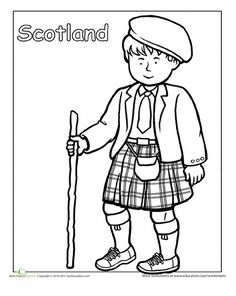 Scottish Traditional Clothing Coloring Page--Wee Gillis