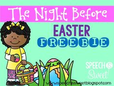 Freebie for A Night Before Easter by Natasha Wing! A fun book for speech therapy! Preschool Speech Therapy, Speech Therapy Activities, Speech Language Pathology, Language Activities, Reading Activities, Speech And Language, Easter Activities, Holiday Activities, Holiday Themes