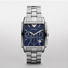 Emporio Armani Mens AR0480 Watch £169.00 Armani Watches For Men, Square Watch, Emporio Armani, Fashion Jewelry, Jewels, Cupcake Images, Cupcake Bakery, Hilarious Stuff, Accessories