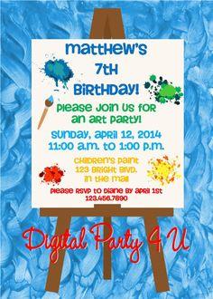 Art Party Invitations by DigitalParty4U on Etsy, $10.00