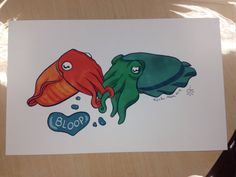 Cuddle Fish print by Erika Moen signed with by PeriscopeStudio, $20.00