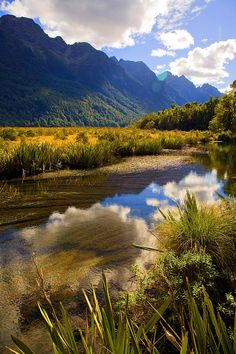 Mirror Lakes, on the Milford Road, The South Island, New Zealand