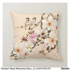 """Peonies"" Asian Watercolor Decor Pillow"