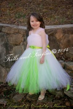 White and Lime Flowergirl Dress with Flower Sash, with or without Sleeves - Great for Flower Girl, Party Dress,  Sizes Newborn up to Size 8