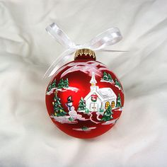 Red Winter Scene Glass ornament by AudreyBDesigns on Etsy