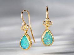 Handcrafted 24K yellow gold, diamond and opal earrings by Gurhan #igorman #gurhan
