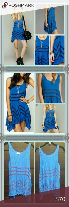 Free people voile and lace trapeze dress Royal blue with purple lace, EUC Free People Dresses Mini