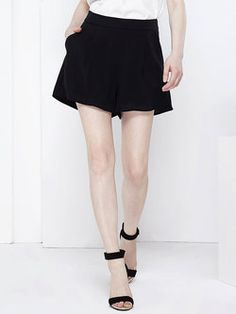 Black Pleated Casual Polyester Plain #Shorts