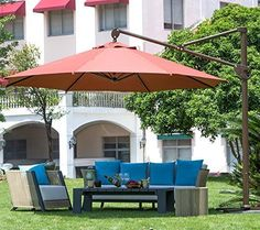 Abba Patio 11 Ft Deluxe Octagon Offset Cantilever Patio Umbrella , Outdoor  Hanging Canopy With Vertical