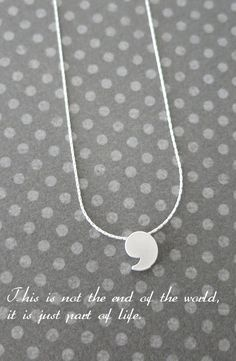 Petite Comma Necklace, sterling silver chain, small Apostrophe pendant, punctuation symbol monogram, minimalist, chic everyday jewelry, www.colormemissy.com