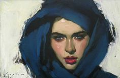 Girl with Blue Scarf. Painting by Malcolm T. Liepke.