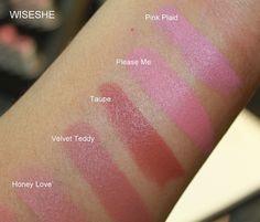 MAC lipstick: honey love, velvet teddy, & taupe
