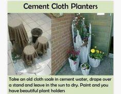 Zement(Puder)+Wasser im Verhältnis 1:4 mischen, Tuch reintauchen, über etwas(z.B. Einen plastiktopf) Hängen, in der Sonne trochnen lassen (Www.fabartdiy.com)