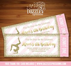Printable Pink and Gold Glitter Gymnastics Ticket Birthday Invitation | Tumbling Party | DIY Print Your Own | Digital File | FREE thank you card included | Printable Matching Party Package Decorations Available! | Banner | Signs | Labels | Favor Tags | Water Bottle Labels and more! www.dazzleexpressions.com