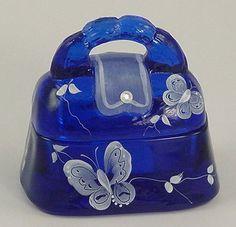 Cobalt blue glass purse
