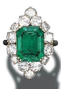 Cartier Emerald and Diamond Cluster Ring at Christie's