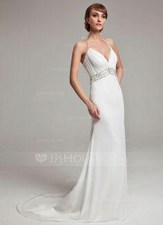Wedding Dresses - $166.99 - A-Line/Princess Halter Court Train Chiffon Wedding Dress With Ruffle Beadwork Sequins (002001676) http://jjshouse.com/A-Line-Princess-Halter-Court-Train-Chiffon-Wedding-Dress-With-Ruffle-Beadwork-Sequins-002001676-g1676?ver=xdegc7h0