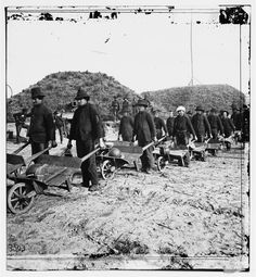 American Civil War: Union soldiers moving munitions after capturing Fort McAllister, Georgia, after more than a month spent on the March to the Sea, December, 1864.