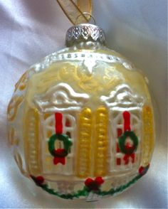 La Maison Noel handpainted stained glass ornament: a New Orleans Christmastime Creole Cottage Beaded Christmas Ornaments, House Ornaments, Christmas Bulbs, Christmas Decorations, Holiday Decor, Christmas Ideas, Creole Cottage, Stained Glass Ornaments, House Deck