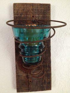 Vintage Blue Insulator Candle Sconce by UrbanMiningCompany on Etsy, $17.95
