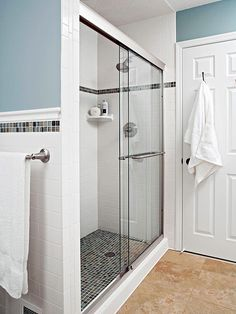 I love this shower area and how it pulls together with the rest of the bathroom. I would make it a bit smaller to accomodate our small bath area though, and also have a glass door that didnt slide.
