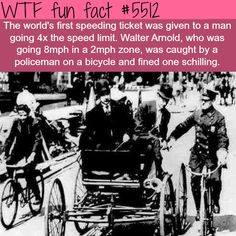 The First Speeding ticket in history! - Chased down and Caught by a Cop on a BICYCLE! WTF? funny facts