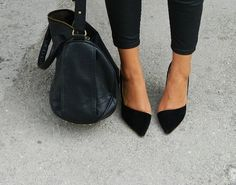 asymmetric black suede pumps