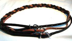 HIGH use ceinture cuir brown tressé tan woven braided leather belt Gürtel 85