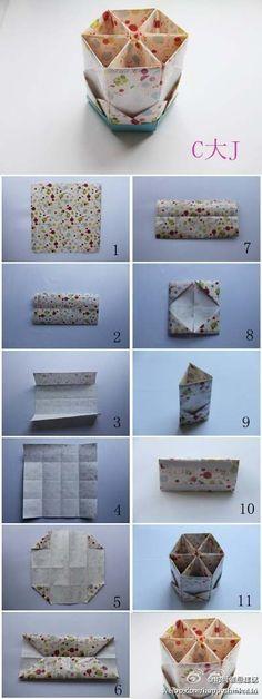 【创意DIY】折纸教程图,教你折笔筒。只要选好…_来自舞琉玥的图片分享