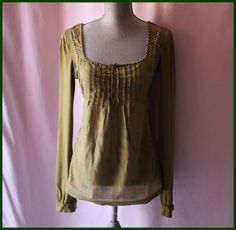 Free People Green Blouse Size 2 Long Sleeves