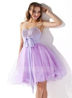 Homecoming Dresses - $128.99 - Empire Sweetheart Knee-Length Chiffon Tulle Homecoming Dress With Ruffle Beading Sequins (022009011) http://jjshouse.com/Empire-Sweetheart-Knee-Length-Chiffon-Tulle-Homecoming-Dress-With-Ruffle-Beading-Sequins-022009011-g9011