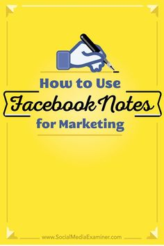How to Use Facebook Notes for Marketing   Do you want to publish longer posts on Facebook?  Have you tried Facebook Notes?  Facebook Notes now lets profile owners add a cover image, format text and resize photos, then share their notes with anyone.  In th