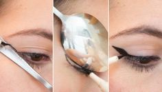 Eyeliner Spoon Hack If you have trouble putting on your eyeliner, then try this hack. Place a spoon on the top of your eyelid when you put the eyeliner on. This should allow you to get a perfect line with your eyeliner every time. Makeup Tricks, Eye Liner Tricks, Eyeliner Tricks For Beginners, Makeup Ideas, Makeup Tutorials, Eyeliner Hacks, Apply Eyeliner, Brown Eyeliner, Winged Eyeliner Tricks