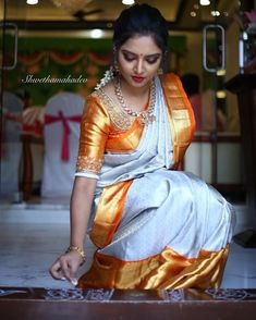Image may contain: 1 person, standing Kerala Saree Blouse Designs, Fancy Blouse Designs, Bridal Blouse Designs, Beautiful Saree, Beautiful Indian Actress, Beautiful Women, Indian Bride Poses, Saree Photoshoot, In Her Eyes