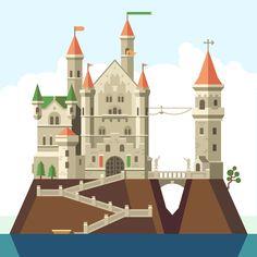 Beautiful fairytale castle. Flat vector illustration. © Beresnev Roman