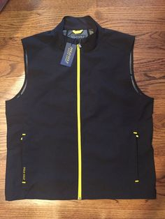 NWT $125 Ralph Lauren Polo Golf Performance Vest Full Zip Mens Black/Yellow #PoloRalphLaurenGolf