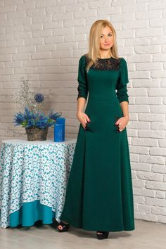 Goedkope Zomer stijl zomerjurk 2015 nieuwe mode vestidos maxi jurk casual een lijn volledige mouw o hals floor lengte vrouwen jurken, koop Kwaliteit Jurken rechtstreeks van Leveranciers van China: