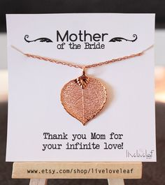 Wedding Jewelry Gift Ideas Mother Of The Bride Rose Gold Aspen Leaf Necklace For