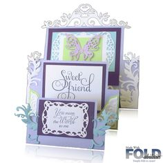Handmade Tri Fold Rectangles FOLD-abilities™ Step Card. Bazzill Lavender Colour.