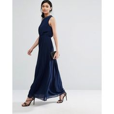 Oasis High Neck Embellished Maxi Dress ($115) ❤ liked on Polyvore featuring dresses, navy, pleated maxi dress, tall dresses, navy pleated dress, pleated dress and tall maxi dresses