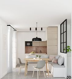E-design service, e-decor of small kitchen, apartment kitchen design, kitchen before and after, interior design service, c-shaped kitchen layout,black metal frame divider, polished concrete floor, pink granite countertop, corner kitchen bench