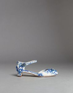 BLUE MAIOLICA EMBROIDERED BROCADE VALLY PUMPS - Closed-toe slip-ons  - Dolce&Gabbana - Winter 2015