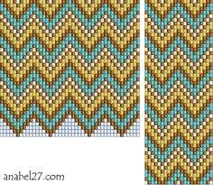 Diamonds and Wavy Lines - Set of 2 Unique Motifs Patterns for Loom Beadwork #heartbeadwork #loombeading