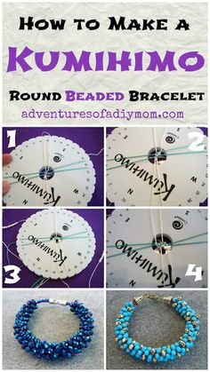Adventures of a DIY Mom - Kumihimo Beaded Bracelets Tutorial