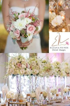 Romantic wedding flowers in white and blush, by Eliana Nunes Floral Design