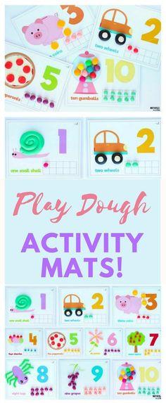 Cute Counting Activities using Play Dough Activity Mats
