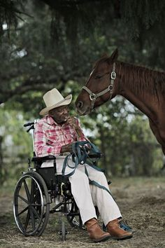 Tom Everett, 80, was riding horses and working until two years ago, when a horse stepped on him and broke his back. His daughter Vee Miller is convinced that his being back home, seeing the horses and smelling the horse poop is the best therapy he can get.
