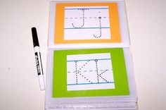 Dollar Store photo album - Print out tracing letters, numbers, words, shapes, etc ... Then have fun with a dry erase marker :)