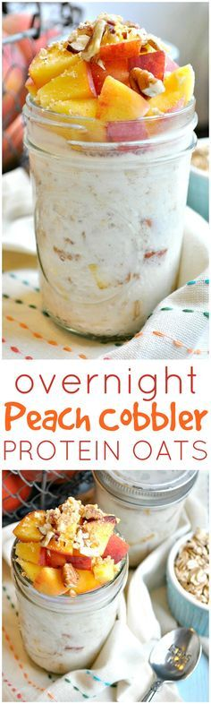 This delicious Overnight Peach Cobbler Protein Oats looks is a healthy, make-ahead breakfast idea for busy back to school mornings! #ad