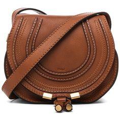 Chloe Small Marcie Satchel (£510) ❤ liked on Polyvore featuring bags, handbags, brown satchel handbags, satchel purse, hardware bag, brown satchel and chloe handbags